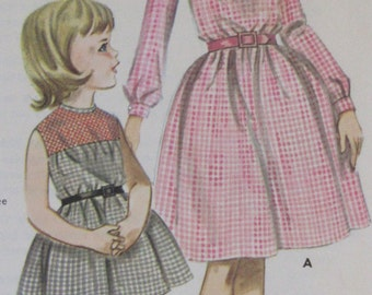 Vintage 1960s Girls Smocked Gingham Dress Butterick Sewing Pattern #2791  Childrens Size 6 Breast 24  ** Epsteam
