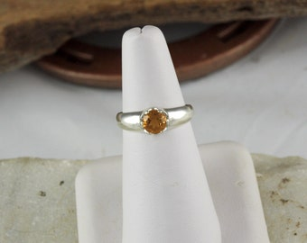 Sterling Silver Ring -Natural Madeira Citrine Ring-Friendship Ring - Statement Ring - with a 6mm  Madeira Citrine Gemstone