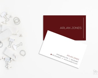 Minimalist business card Printable business card Red and white business card Double sided Front and back Professional business card