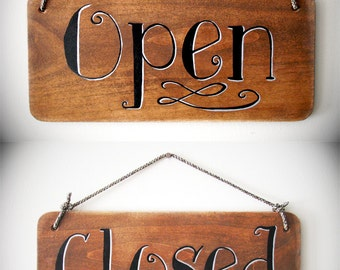 Open and Closed Sign, 6x12 - Store Sign, Boutique Sign, Business Sign, Open Sign, Open Closed Sign, Office Sign, Custom Sign, Comic Design
