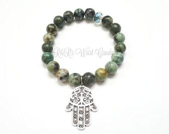 Nautural African Turquoise Gemstone Hamsa Beaded Bracelet, Yoga Bracelet, Inspiration,  Jasper Gemstone,Handmade, Custom, Beaded Jewelry