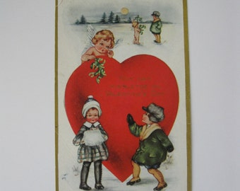 Valentine's Day Vintage Post Card - Why Not Mistletoe on Valentine's Day? - Whitney Made - Used - 1900s