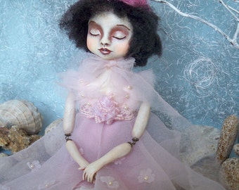 "Sale!! Art Doll  ""the Sleeping Pyeretta"" OOAK doll Art doll Collectible doll Interior doll"