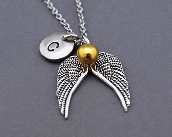 Golden snitch necklace, Harry potter fan necklace, Harry Potter Inspired, Golden snitch pendant, Quidditch Golden Snitch, Harry Potter gift