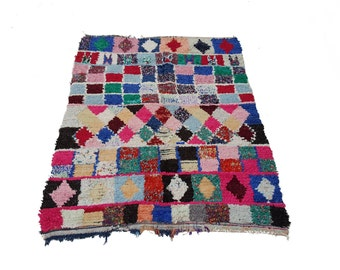 "71""X51"" Vintage Moroccan rug woven by hand from scraps of fabric / boucherouite / boucherouette"