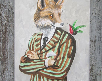 Fox Acrylic Painting on canvas,Original & HandMade painting, oil painting, handpainted by painter Coco de Paris: Fox with bird