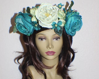 Teal sage and green rose flower crown headband