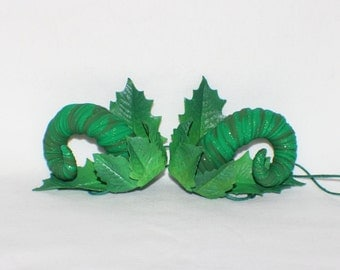 Green twisted leafy ram inspired horns with green glitter