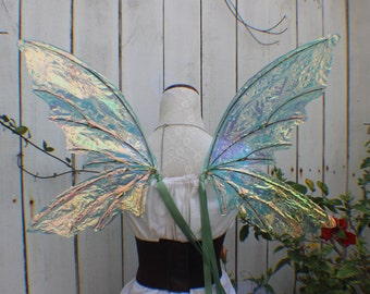 Medium size Green Iridescent 4 Wing Woodland Fairy Inspired Wings