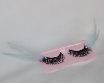 Light blue and black feather lashes with light blue jewels