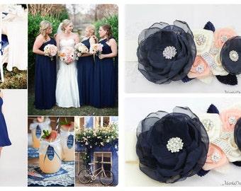 Navy Wedding Sash Bridal Jeweled Flower Sash Blush Custom Belt Beaded Sash in Navy Blue Rose Pink Blush Ivory