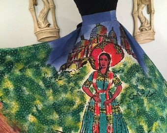 1950s Hand Painted Mexican Circle Skirt -- Bright Sequins and Incredible Design