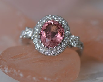 ONE-OF-A-KIND: Natural Pink Tourmaline and Diamond Ring (14K White Gold)