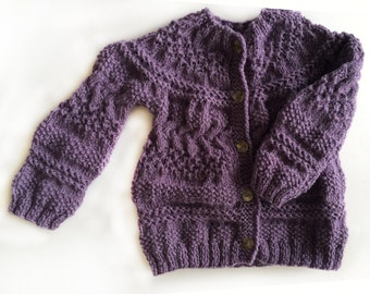 Girl sweater, hand knitted cardigan, wool