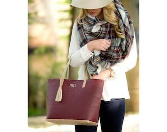 Ladies Personalized Wine Handbag Tan Tassel