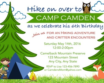 Camping Birthday Invitation, Hiking Birthday Invitation, Nature Birthday Party invitation, Explore Birthday, S'More Birthday, Hiking Party