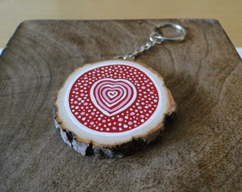 Painted Wooden Slice Keyring - Red Heart
