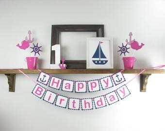 SALE - Nautical Happy Birthday Banner - Nautical Birthday - Nautical Party Decor - Pink Nautical Banner