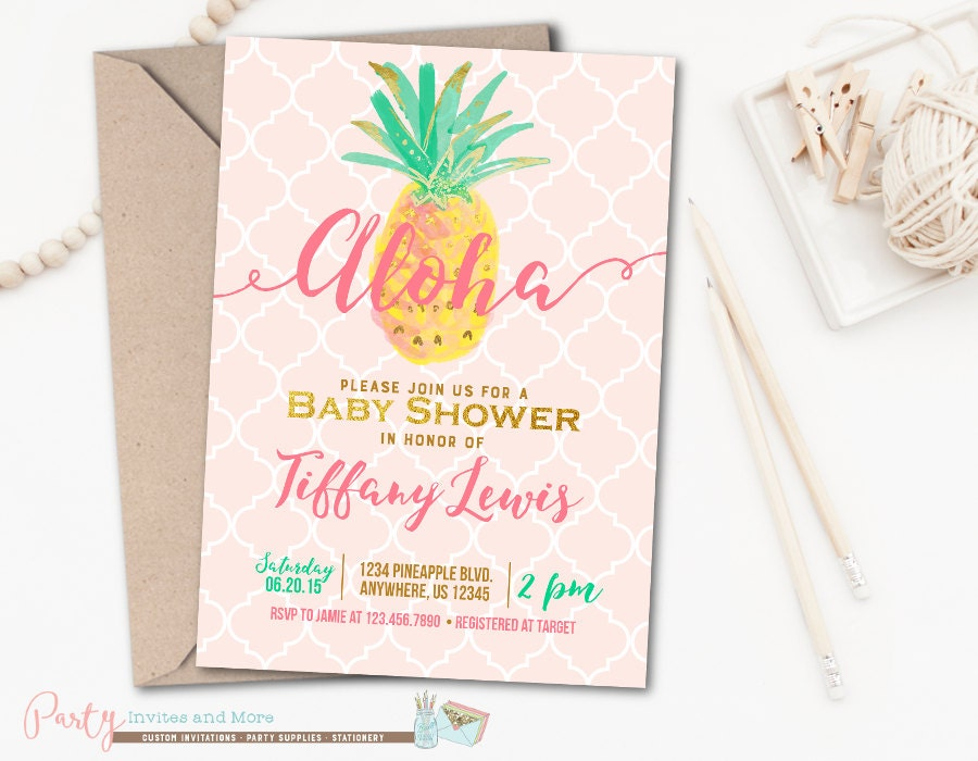 aloha baby shower invitation luau baby shower invitation