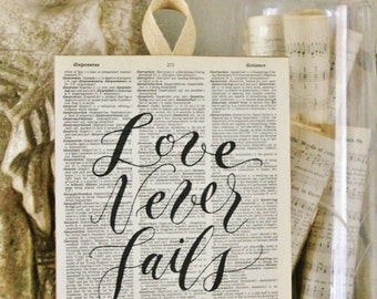 Love Never Fails Wood Sign Vintage Dictionary Book Page Art Print Bible Scripture Verse Valentine Farmhouse Decor Wedding Decor Fixer Upper