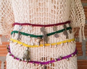 Boho Indian Gypsy Belt/Necklace/Anklet Outfit Accessory with Coins and Bells. Purple, Green or Yellow. Jewelry/Belts