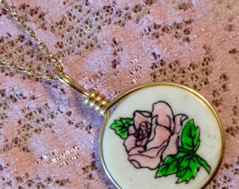 10K Yellow Gold Hand Painted Bone Rose Necklace  (St - 1581)