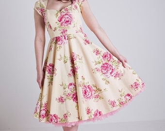 Made to Order, 50s inspired pastel yellow floral sweetheart neckline full circle dress, with capped sleeves, sizes UK 6-24