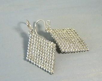 Silver Earrings Dangle Earrings, Simple Earrings, Everyday Earrings Beaded Geometric Jewelry, Beadwork Jewelry Gift For Her, Modern Earrings