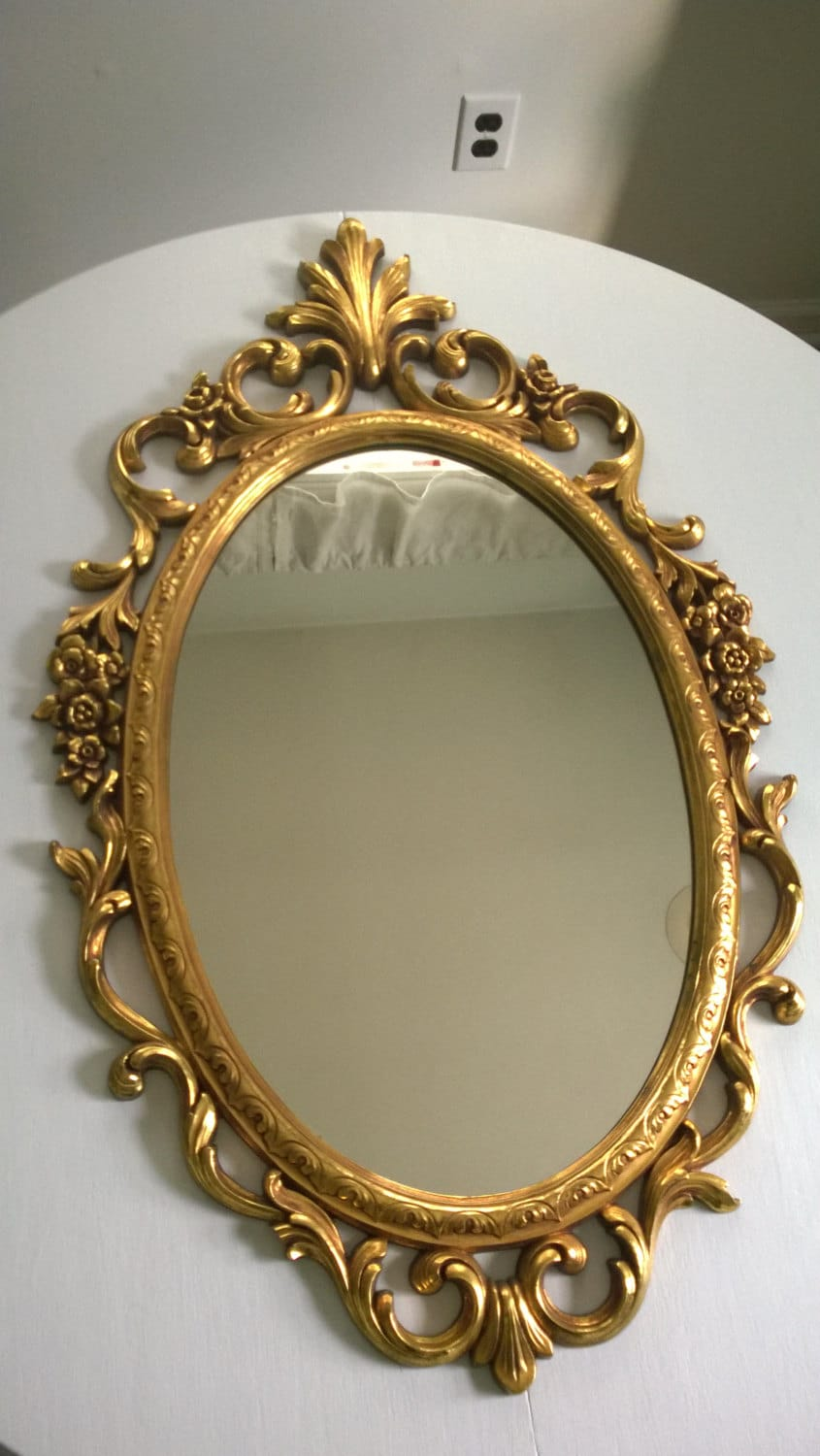 Vintage rococo baroque revival mirror antique gold opulent for Baroque resin mirror
