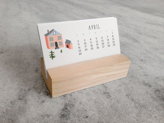 Calendar Wood Stand : Mini desk calendar with wood stand monthly by