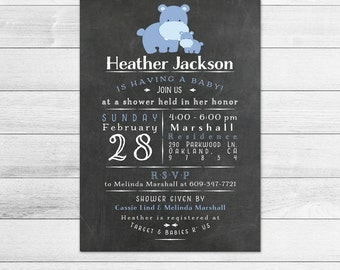 Chalkboard Hippo Baby Shower Invitation, Boy Digital Printable Invite Subway Style