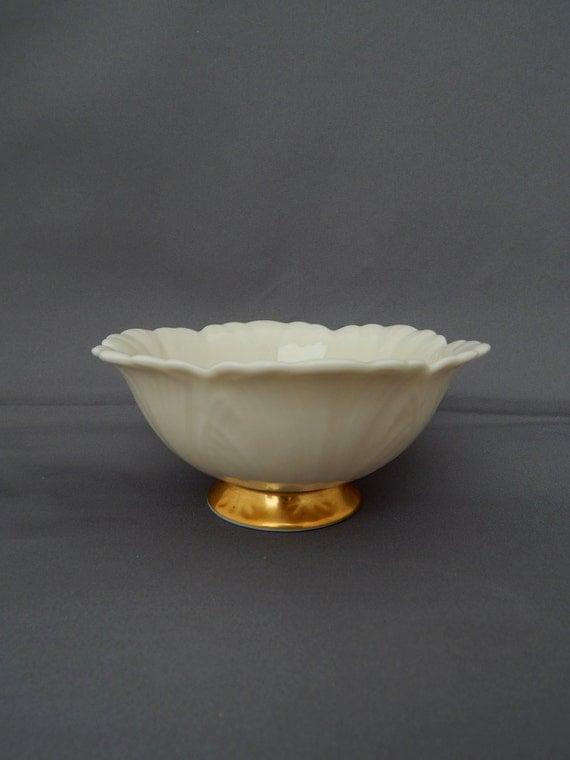 Vintage Lenox Candy Dish Lenox Ivory White Gold Base Embossed