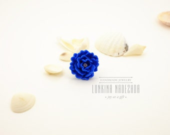 Royal blue polymer clay peony adjustable ring small flower jewelry ready to ship