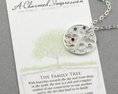 Family Tree Necklace, Personalize Sterling Silver Jewelry, Swarovski Crystal Birthstone Tree of Life Pendant, Grandma Gift, Mothers Necklace