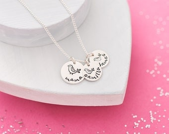 Mother and Baby Bird Necklace - Mama Bird Necklace - Mama Necklace - Hand Stamped Jewellery UK - Mother and Child Necklace