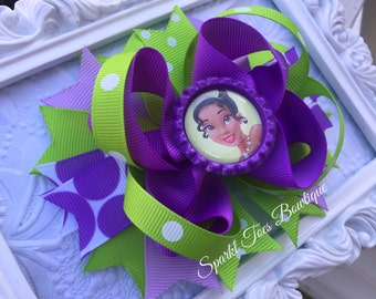 Tiana Bows Princess and the Frog Birthday party Tiana Birthday Tiana Outfit Shoe Bows Shoe Toppers Pigtail bows polka dot Green Purple