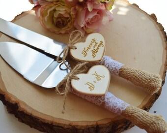 rustic wedding cake knife customized burlap wedding cake serving set burlap and lace(K105)