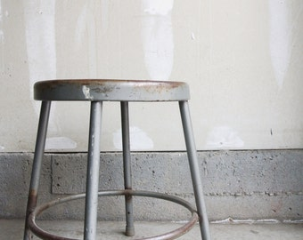 SALE - Vintage Industrial Metal Stool - Machinist Stool - Shop Stool - Man Cave - Metal Chairs - Industrial Home Decor - Industrial Setting