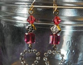Crystal and Gold Hearts with pink swarovski crystals earrings, Valentines Day, dangle earrings,