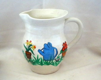 Pottery Garden Pitcher Handcrafted Coil Clay