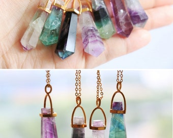 Raw crystal necklace, Rainbow Fluorite necklace, Raw Stone necklace, Crystal Quartz necklace, layered necklace, OOAK boho, Rainbow Fluorite