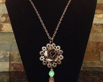 Unique One of a Kind Antiqued Copper Filigree Filagree Flower Charm Mint Green Pink Long Chain Pendant Necklace