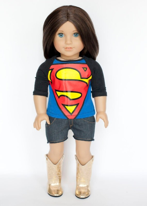 American girl doll upcycled superman baseball style tee shirt for American girl t shirt craft