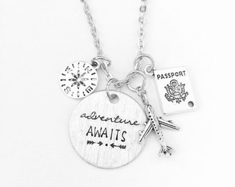 Adventure Awaits Travel Wanderlust Inspired Necklace