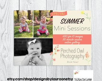 7x5 Summer Mini Sessions Template-Photography Mini Session Ad Template-Summer Mini Session Template-Marketing Set