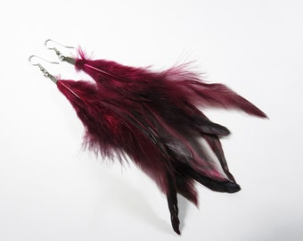 Natural Mahogany Plum Rooster Feather Dangle Drop Earrings, Mahogany Red Long Feather Earrings, Red Feather Jewelry, Red Feather Earrings