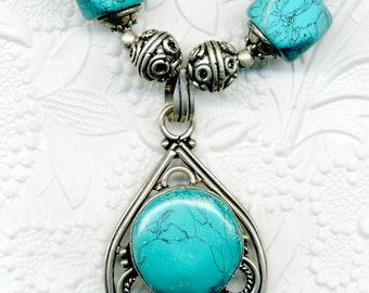 Turquoise and Silver Pendant Necklace