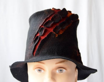 Black top hat, Hand felted hat, Steampunk tophat, Wet felted hat, Magician hat, Fantasy dress, Black slider hat, Special occasion hat