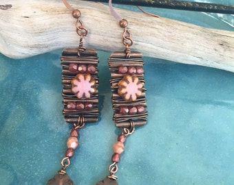 Long organic copper wire wrapped dangle earrings with Czech glass beads. Pink, cream, brown.