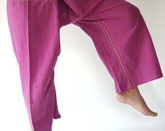 F80015 Handmade Thai Fisherman Pants Wide Leg pants, Wrap pants, Unisex pants in Darkmagenta color(015)
